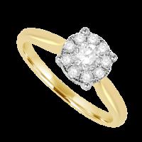 18ct Gold .50ct Diamond Solitaire Illusion Ring