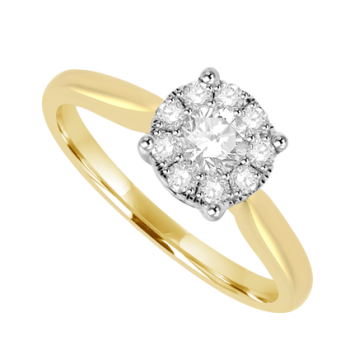 18ct Gold .50ct Diamond Solitaire Illusion Ring
