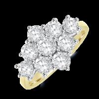 18ct Gold 1.70ct Diamond Kite Cluster Ring