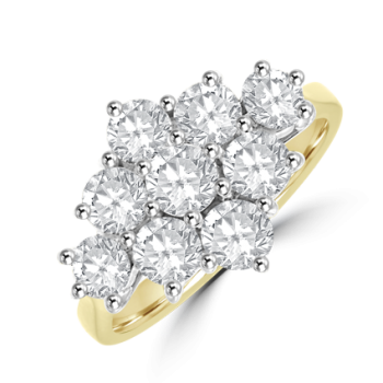 18ct Gold 1.70ct Diamond Kite Cluster Ring