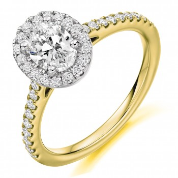 18ct Gold & Platinum Oval ESi1 Diamond Halo Ring