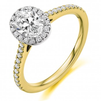 18ct Gold & Platinum Oval FVS2 Diamond Halo Ring