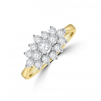 18ct Gold 15-stone .70ct Diamond Boat Cluster Ring