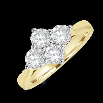 18ct Gold 2x2 1.07ct Diamond Cluster Ring