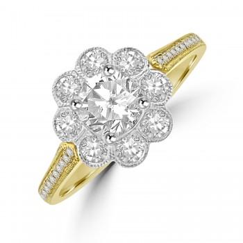 18ct Gold 9-stone 1.20ct Diamond Daisy Cluster Ring