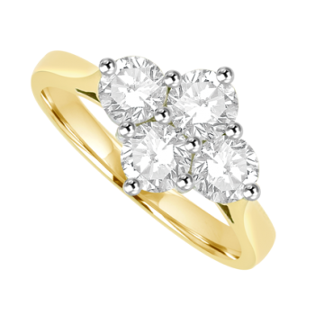 18ct Gold 1.05ct Diamond 2x2 Cluster Ring