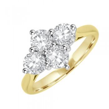 18ct Gold 1.25ct Diamond 2x2 Cluster Ring