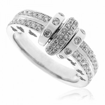 18ct White Gold Double Row Eternity ring with centre feature