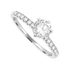 18ct White Gold Solitaire Diamond ring with set shoulders