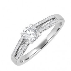 18ct Wh Solitaire Diamond Ring  with split Dia/Sh