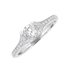 18ct White Solitaire GVS1 Diamond Ring with Pave Shoulders