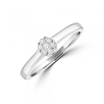 18ct White Gold .12ct Diamond 7-stone Solitaire Cluster Ring