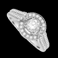 18ct White Gold Diamond Solitaire Halo Ring wirh Split Shoulder