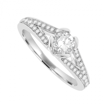 18ct White Gold Solitaire Diamond with Split Shoulders