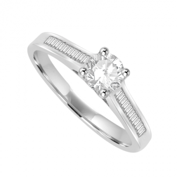 18ct White Gold Diamond Solitaire ring with Baguette Shoulders