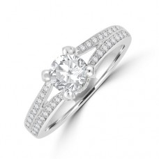 18ct White Gold Soltaire Diamond split Ring