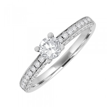18ct Wh Solitaire Diamond Ring with Diamond set Shoulders