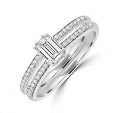 18ct White Gold Emerald cut Diamond Solitaire Ring
