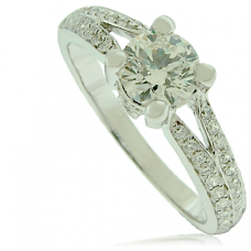 18ct White Gold Diamond Solitaire Ring with Split Shoulders