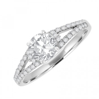 18ct White Gold Solitaire FSi2 Diamond Split Shoulder Ring
