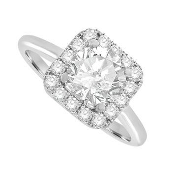18ct White Gold Diamond Solitaire Cushion Halo Ring