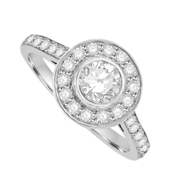 18ct White Gold Diamond Rub-over Solitaire Halo Ring