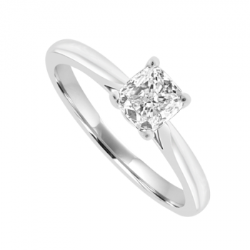 18ct White Gold Solitaire Cushion cut Diamond Ring