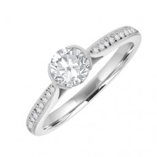 18ct White Gold Solitaire GSi1 Diamond Rubover Ring