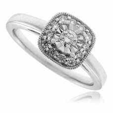 18ct White Gold Aura Solitaire Diamond Cushioned-Halo Ring