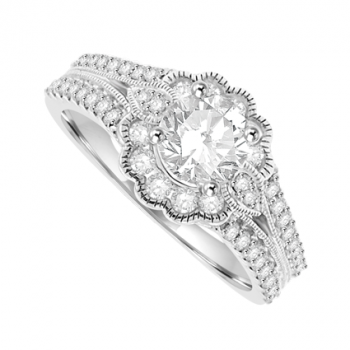 18ct White Gold Diamond Halo Art Deco Ring