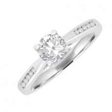 18ct White Gold Solitaire GSi2 Diamond Ring with set shoulders