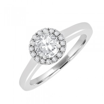 18ct White Gold Solitare Engagment Ring With Halo