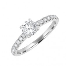 18ct White Gold Diamond Solitaire Ring with Diamond Shoulders
