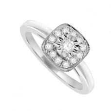 18ct White Gold Diamond Solitaire Aura Ring
