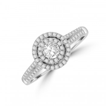 18ct White Gold Diamond Solitare Double Halo Ring
