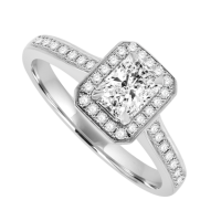 18ct White Gold Phoenix Diamond Halo Ring
