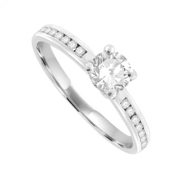 18ct White Gold Solitaire Diamond Ring with channel shoulders