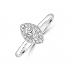 18ct White Gold Marquise Halo Ring