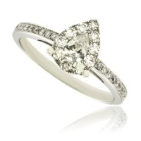 18ct White Gold Diamond Pear Solitaire Illusion-cluster Ring