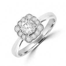 18ct White Gold Solitaire Diamond Vintage Halo Ring