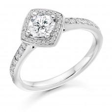 18ct White Gold Solitaire Diamond Compass Square Halo Ring