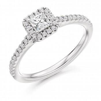 18ct White Gold Princess cut Diamond Solitaire Halo Ring