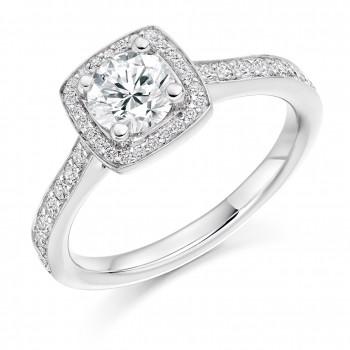 18ct White Gold Solitaire Diamond Square Halo Ring