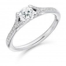 18ct White Gold Solitaire .50ct Diamond Ring