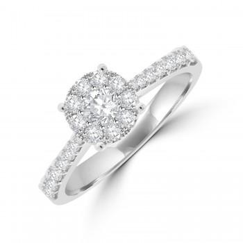 18ct White Gold Solitaire-Illusion Diamond Ring