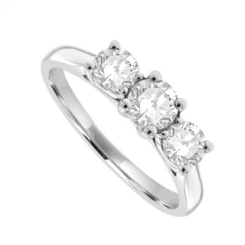 19ct White Gold 3-Stone Diamond Ring