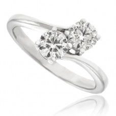 18ct White Gold Two-Stone Diamond Twist Ring
