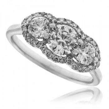 18ct White Gold 3-Stone Diaond Halo Ring