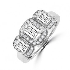 18ct White Gold Three-stone Emerald cut Diamond Halo Ring