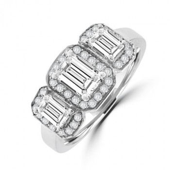 18ct White Gold Three-stone Emerald cut Diamond Halo Ring